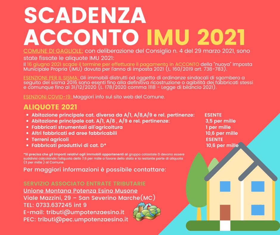 AVVISO ACCONTO IMU 2021 - GAGLIOLE
