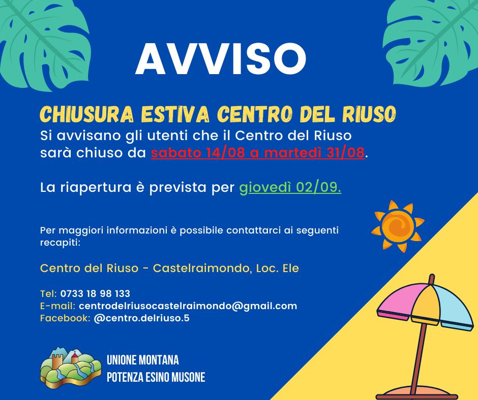 AVVISO CHIUSURA ESTIVA CENTRO DEL RIUSO