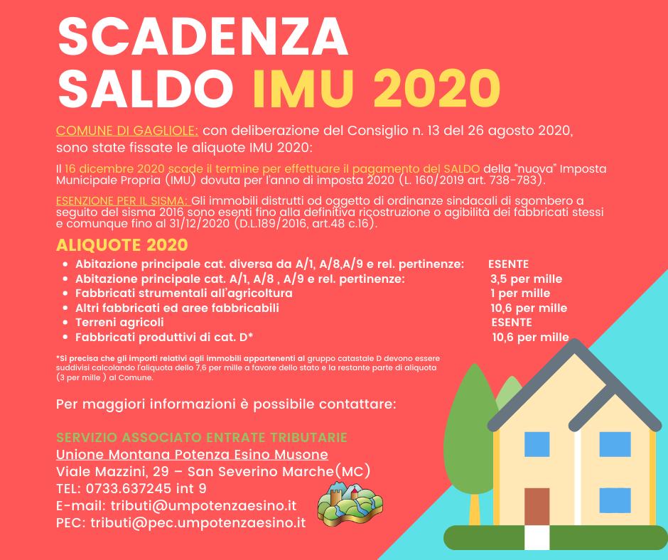 AVVISO SALDO IMU 2020 - GAGLIOLE