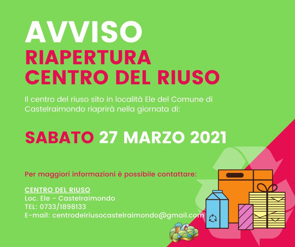 RIAPERTURA 27_03_21 - CENTRO DEL RIUSO
